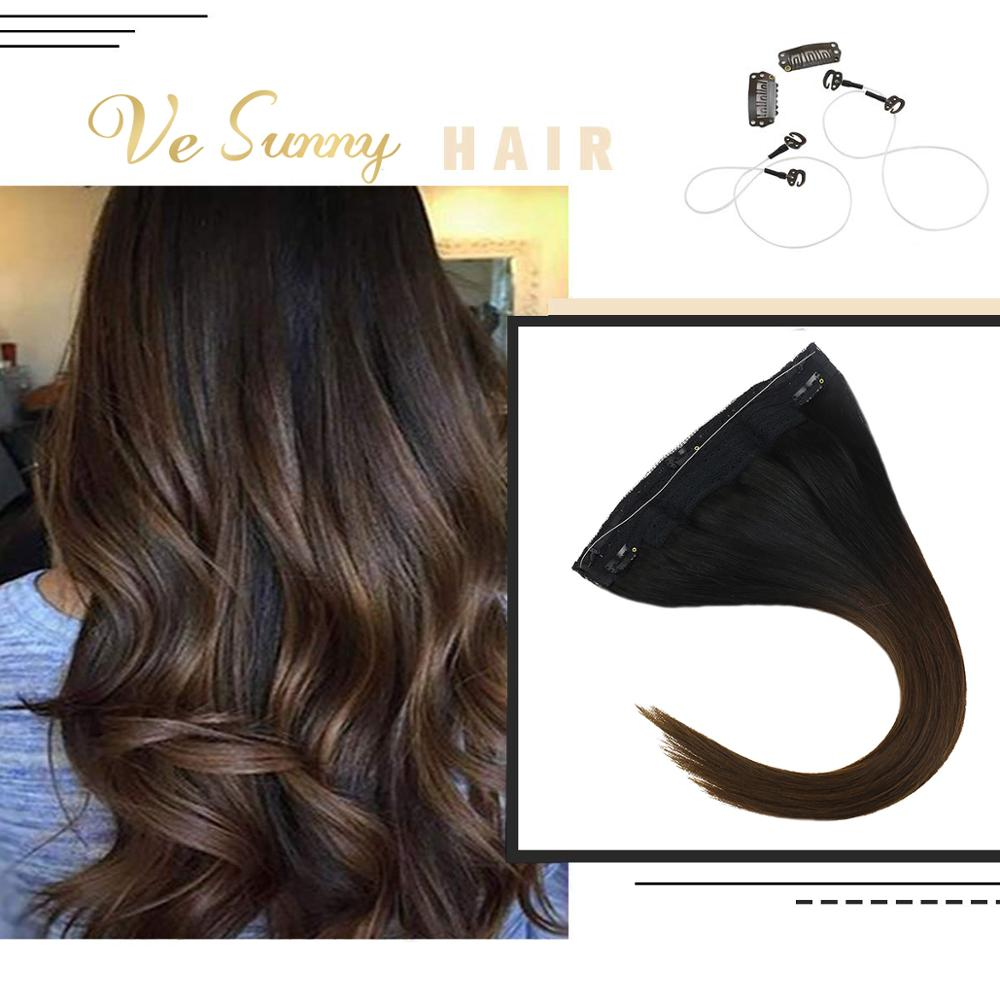 VeSunny One Piece Invisible Halo Hair Extensions Machine Remy Human Hair Flip In Wire With 2 Clips On Black Ombre Brown #1b/4