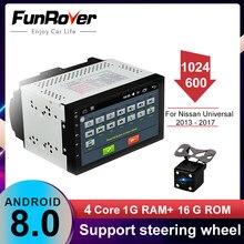 Funrover Radio de coche reproductor Multimedia android 2 Din DVD para Nissan qashqai Toyota Volkswagen Mazda Kia VW Peugeot Universal