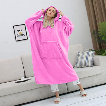 2021 Hot Sell Oversized Hoodies Sweatshirt Women Wearable Blanket With Sleeves Plush Oversize Pullover Women Hoody Home Clothes 1