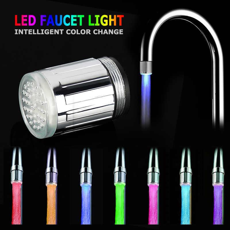 LED Faucet dengan RGB Temperatur Kontrol Mengubah LED Lampu Air Keran Dapur Kamar Mandi Tidak Ada perlu Baterai