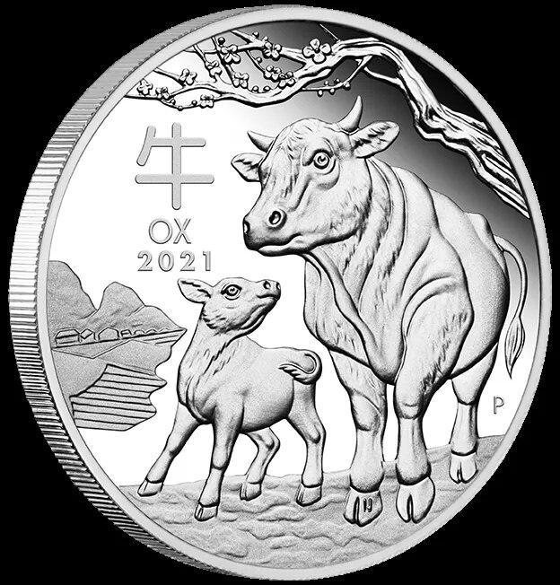 Символ быка года 2021 Австралия 1 Унция Золотая Серебряная монета Лунный Новый год бык, скот, монеты, сувениры, подарки