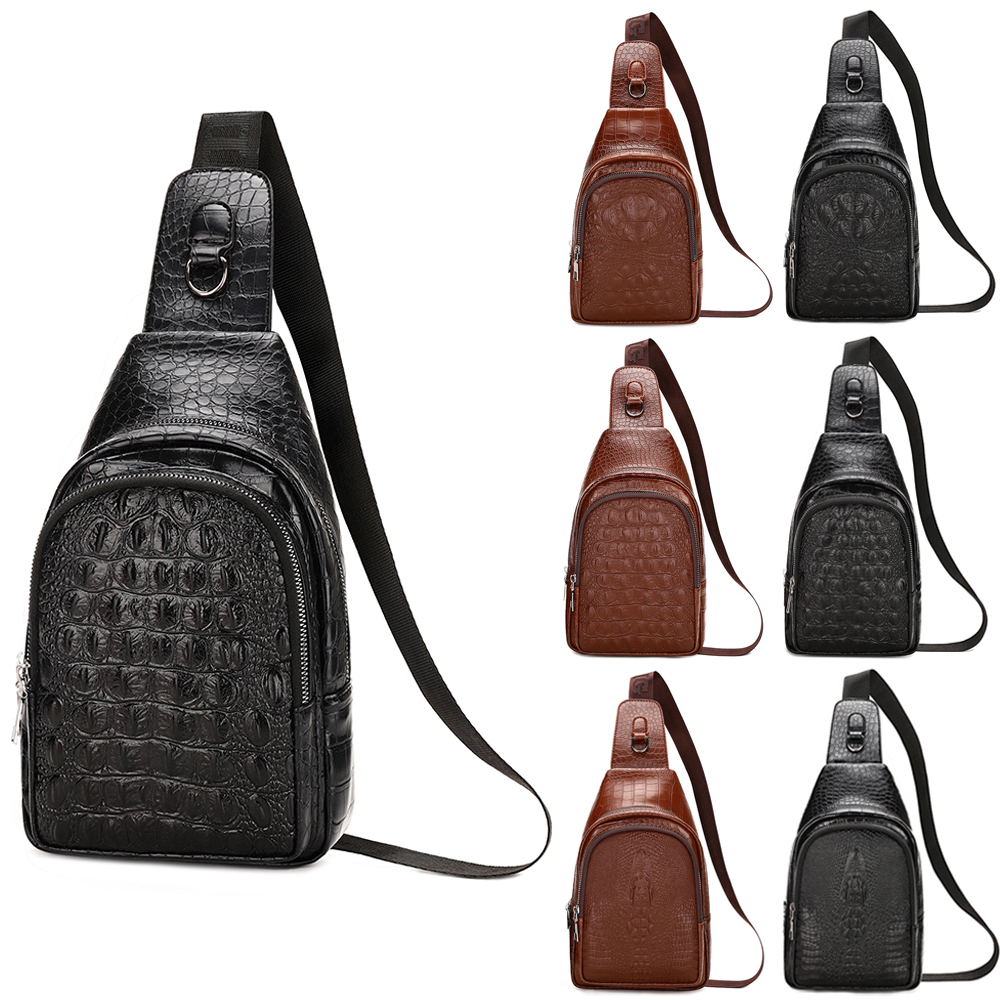 Cool Men/'s PU Sling Chest Bag Travel Motorcycle Backpack Daypack Shoulder Purse