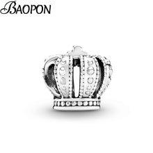 2 Pçs/lote Cor Prata Noble Crown Charme Beads fit Encantos Pulseiras Da Marca Para As Mulheres DIY Jóias Acessórios de Moda