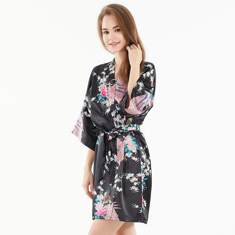 Pajamas Women's Xia Fang Silk Floral Half-sleeve Shirt Women's Nightgowns & Sleepshirts-Cardigan Bathrobe Hotel SPA Morning Gown