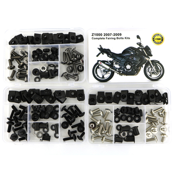 For Kawasaki Z1000 2007 2008 2009 Motorcycle Complete Body Full Fairing Bolts Kit Fairing Clips Nut Screws Steel 1 Set 5pcs 6mm cnc motorcycle fairing body work bolts screws for ktm 950 adventures 03 04 05 06 400 xc w rc390 rc8