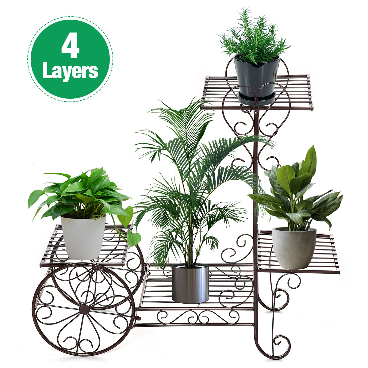 European 4 Layers Plants Stand Flower Rack Metal Flower Stand Indoor Plant Shelves Multi-story Outdoor Metal Floor Shelf Balcony