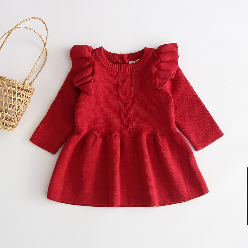 H96a0bc34612c48768b0ef13d0fd6dfd00 Girls Knitted Dress 2019 autumn winter Clothes Lattice Kids Toddler baby dress for girl princess Cotton warm Christmas Dresses
