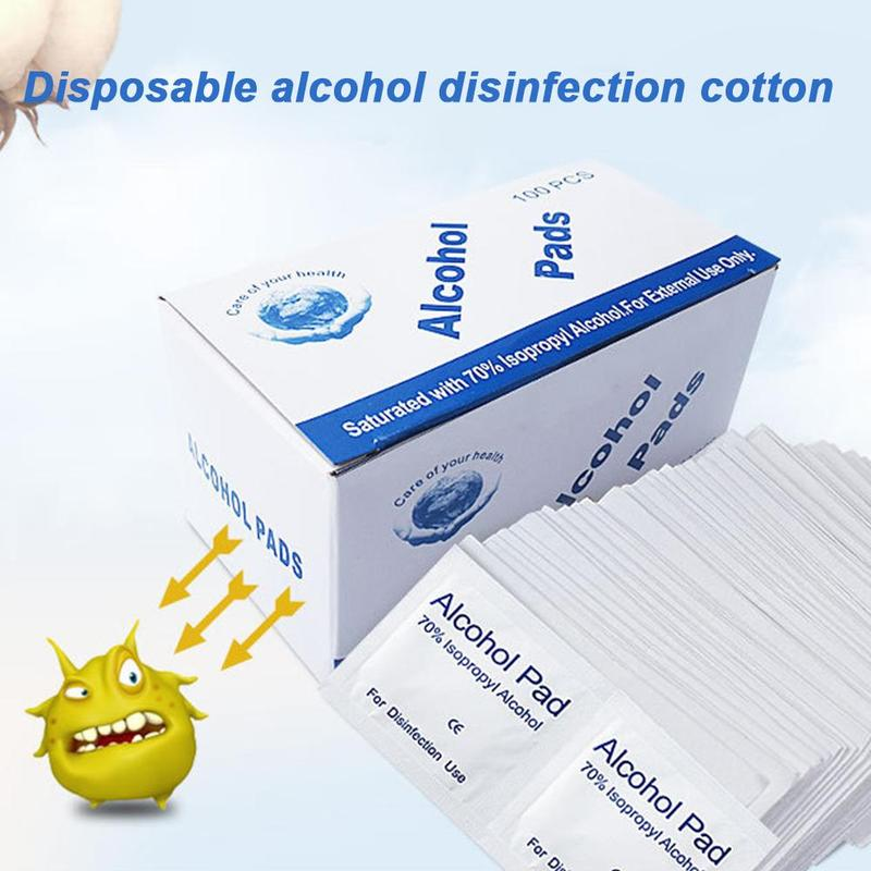 100 Pcs/bag Disposable Alcohol Wet Wipe Disinfection Prep Swap Pad Antiseptic Skin Cleaning Care Jewelry Mobile Phone Clean Wipe