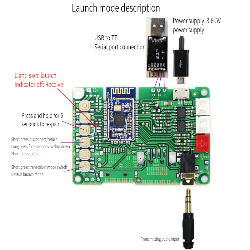 V5.0 Stereo Transmission BK3266 Module Bluetooth Power Amplifier Board Receiving And Sending One AT Renamed Button Switch