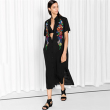 Beach Dresses Robe Summer Dress Women's Tunic Europeans Cotton Embroidered Single Breasted Outside Smock Upper Garment Animal