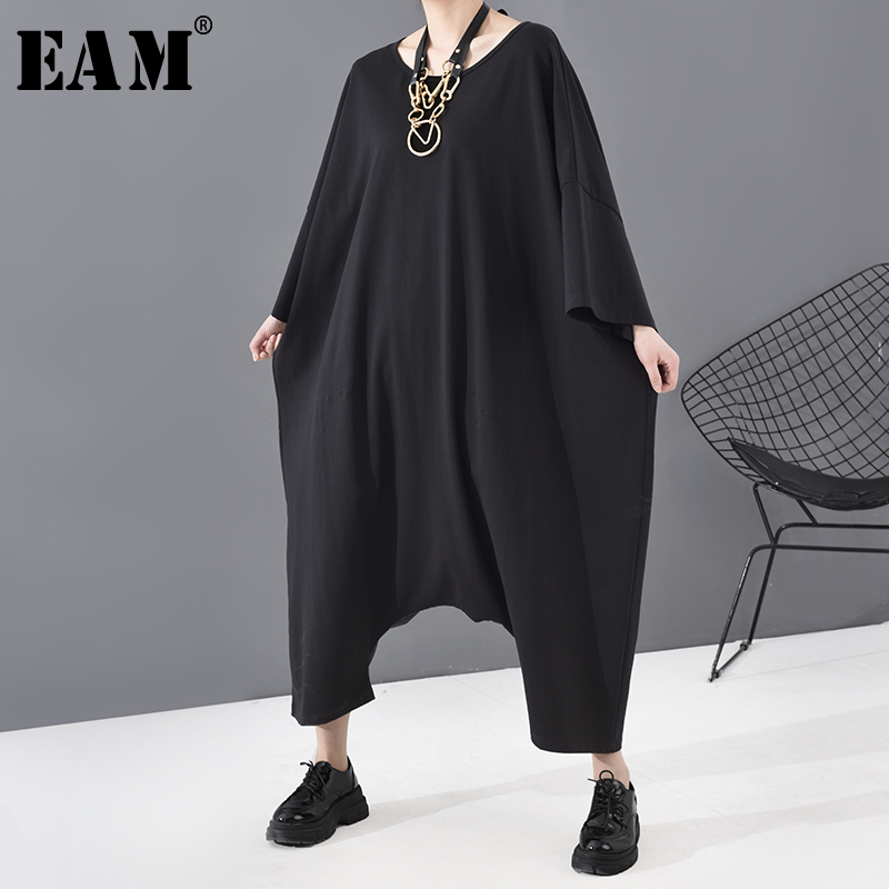 [EAM] Loose Fit Women  Black Oversized Long Jumpsuit New High Waist Pocket Stitch Pants Fashion Tide Spring Autumn 2020 JU79301