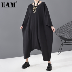 [EAM] Loose Fit Women  Black Oversized Long Jumpsuit New High Waist Pocket Stitch Pants Fashion Tide Spring Autumn 2020 JU79301