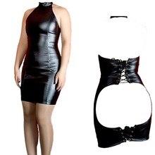 セクシーなフェイクレザーオープン尻ミニドレスタートルネックバックレースアップ包帯ドレス女性ロールプレイフェチ衣装
