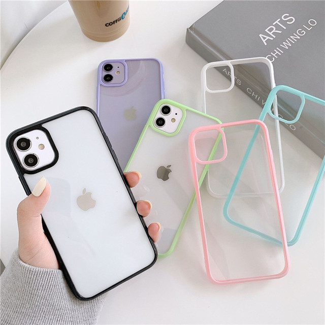 Funda For iphone 12 pro Case Luxury Clear Candy Phone Bumper Coque For iphone 11 Case For Women Men X XS Max XR 6 8 7 Plus Cover 2
