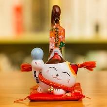Estilo japonês 6 polegada maneki neko cerâmica sorte gato ornamento dos desenhos animados margay longa cauda gato estátua casa estatueta decorativa