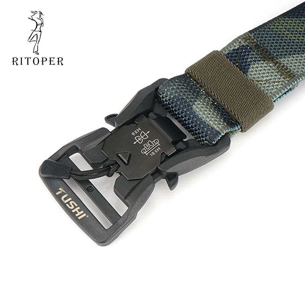 Camouflage Nylon New Tecnology Tactical Belt with Magnetic Alloy Buckle for Outdoor Training Mountaineering