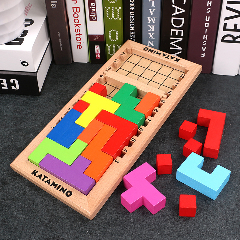Kids 3D Katamino Wooden Color Building Blocks Puzzle Toys Magic Brain Teaser Beech Puzzle Cube Unisex Gift Toy for 3 Years+