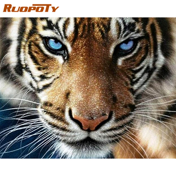 RUOPOTY Frame DIY Painting By Numbers Tiger Animals Picture By Numbers Handpainted Oil Painting For Home Decors Wall Art Picture ruopoty frame mountain lake diy painting by numbers landscape handpainted oil painting modern home wall art canvas painting art