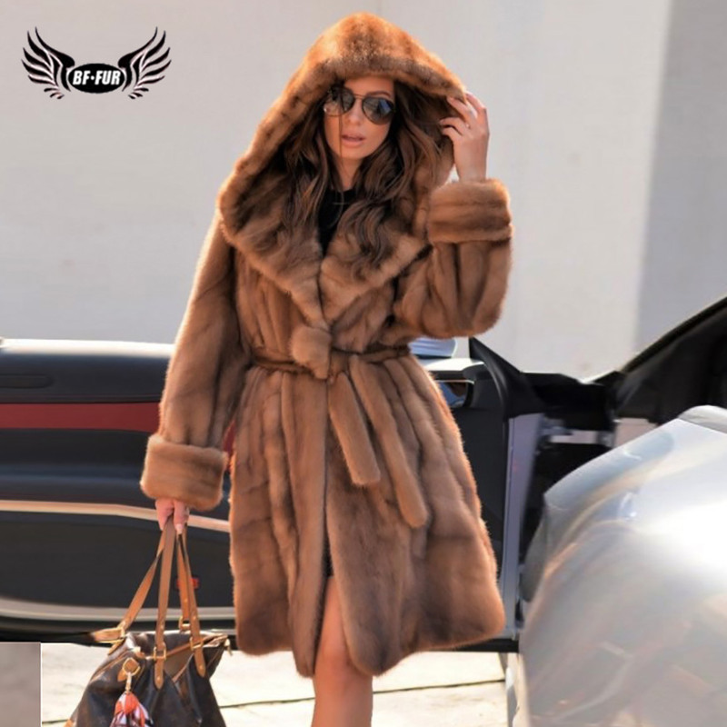 High Quality 90CM Long Genuine Mink Fur Jacket With Hood Thick Warm 2019 Winter Wholeskin Real Mink Fur Coat With Belt For Women