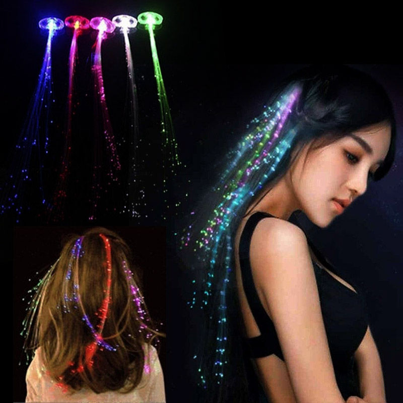 Colorful LED Glowing Flash Wigs Hair Braided Accessory Hairpin New Year Party Christmas Decor Supplies WWO66