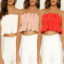 Summer Women Sexy Off-shoulder Tube Crop Tops Strapless Bra Tank Top Vest