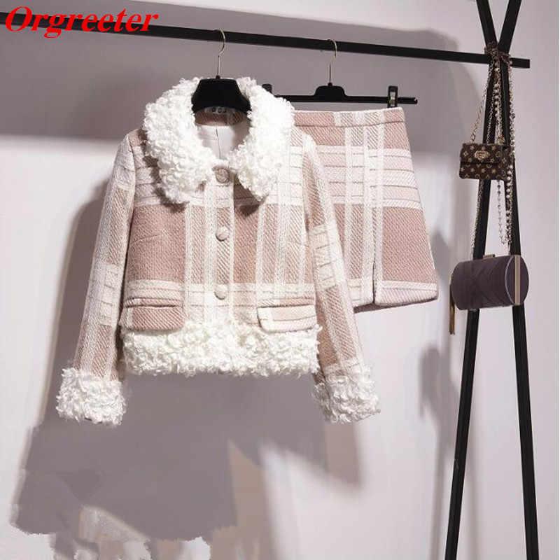 秋冬カジュアル 2 点セット女性ラムズウールパッチワークツイードチェック柄のコートミニラップスカートウール 2 個セット