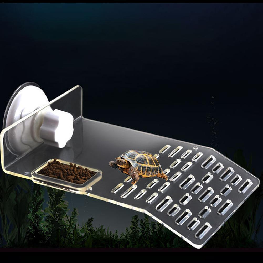 Turtle Tank Reptile Floating Pier Easy To Install Powerful Suction Cup Platform Basking Stone Island Terrapin  Terrarium
