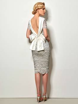 Sexy Backless Sheath Short Cocktail Dress Vintage High Neck Knee Length Evening Party Lace Cocktail Dress With Bowknot halter backless lace panel sheath cocktail dress