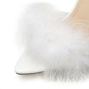 Image 5 - Kcenid 2020 חדש PVC נעלי אישה נוצת שקוף עקבים גבוהים פרווה נעלי נשים ציוץ הבוהן פרדות ליידי משאבות נעלי שקופיות לבן