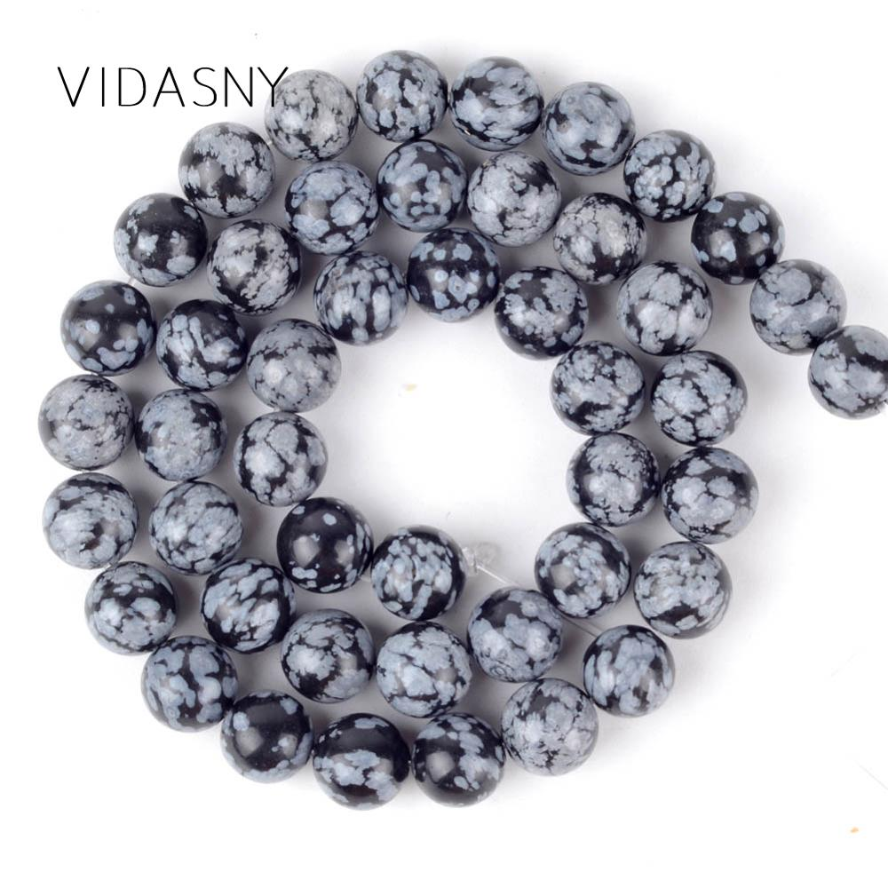 Natural Black Snowflake Jaspers Round Spacer Stone Beads Diy Necklace Accessories 4mm-12mm Loose For Jewelry Making 15