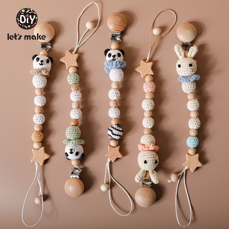 Let's Make 1pc Baby Pacifier Dummy Luxury Nipple Chain Soother Feeder Pacifier Silicone Crochet Beads Panda Rabbit Food Grade
