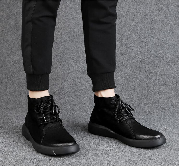 Dropshipping Fashion Warm Leather Ankle Boots Men Winter with Fur Snow Lace Up Rubber s Shoes SXYZ1063