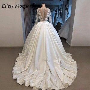 Image 2 - Ivory Satin Long Sleeves Ball Gowns Wedding Dresses for Bridal Vestidos De Novia 2020 Real Photos V Neck Lace Merry Princess