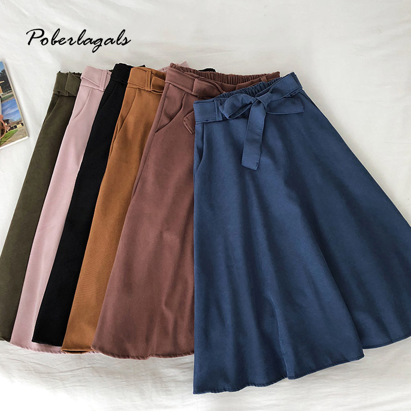 Autumn And Winter Women Long Skirt High Waist Bow Retro Wild Skirt 2019 Fashion Female Retro Slim Sweet Women Mid-length Skirts