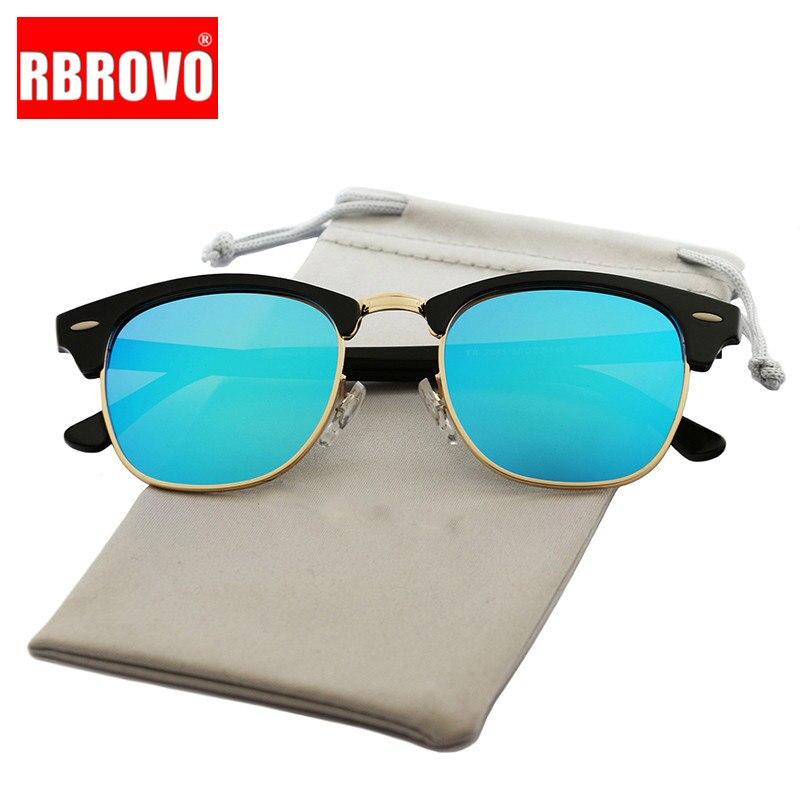 RBROVO, Gafas De Sol Vintage De marca De diseño semibordes, Gafas De Sol polarizadas UV400 para mujeres y hombres, Gafas De Sol clásicas, Gafas De Sol Retro