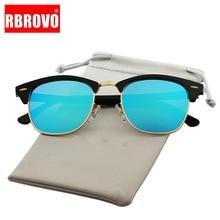 RBROVO Vintage Semi-Rimless Brand Designer Sunglasses Women/Men Polarized UV400 Classic Oculos De Sol Gafas Retro Sun Glasses