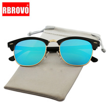 цена на RBROVO Vintage Semi-Rimless Brand Designer Sunglasses Women/Men Polarized UV400 Classic Oculos De Sol Gafas Retro Sun Glasses