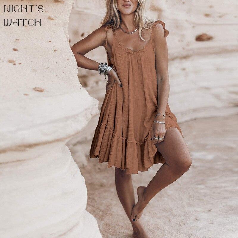 Ночной дозор летние пикантные однотонные Цвет с открытой спиной, женское платье на каждый день без рукавов новые свободные элегантные вече...