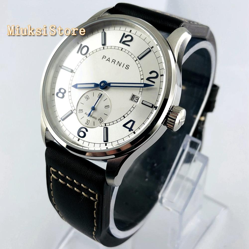 Parnis 41mm silver case silver dial Sea gull 1731 Automatic movement date luminous men's top mechanical Wrist Watch
