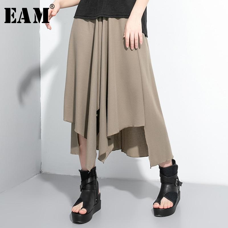 [EAM] High Elastic Waist Khaki Asymmetrical Hem Temperament Half-body Skirt Women Fashion Tide New Spring Summer 2020 1U045