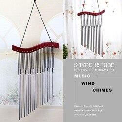S typ 15 tube wood music dzwonek wietrzny s kreatywny prezent urodzinowy balkon do sypialni dziedziniec ogród zewnętrzna metalowa rura dzwonek wietrzny orna w Dzwonki i dekoracje wiszące od Dom i ogród na
