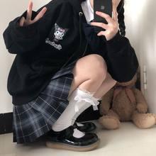 Preppy jaqueta primavera outono japonês estilo universitário bonito dos desenhos animados imprimir solto mais velo grosso casaco com capuz menina estudante kawaii