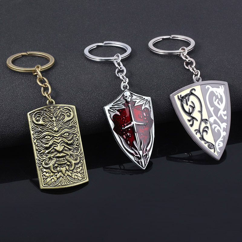 SG New Game Dark Souls Shield Weapon Keychains Silver Eagle Black Iron Greatshield Sword Men Car Keyring Cosplay Jewelry image