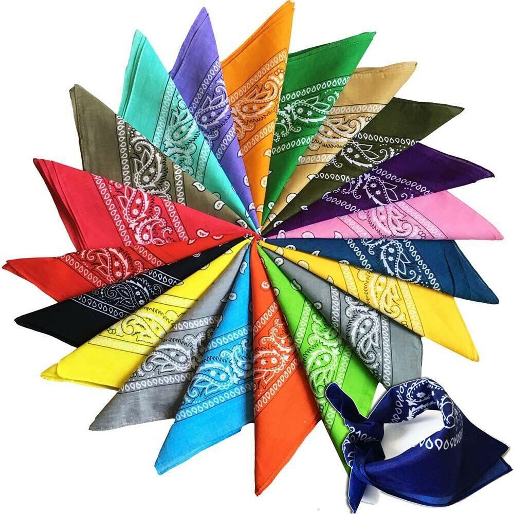 12x Paisley Bandana Cowboy Head Wrap Scarf 100% Cotton 22x22 Inch Headkerchief