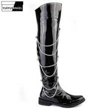 2021 New Rock Punk Style Stage PU Leather Chain Long Boots Men Fashion Black Over-The-Knee Motorcycle Boots Pointed Toe Shoes
