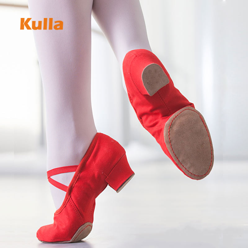 Women Ballet Dance Shoes Red/Black Canvas Sneakers Teacher's Latin Dancing Shoes Pointe Shoes Ballet For Girls/Ladies Jazz Shoes