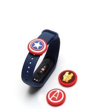 Силиконовые петли для смарт-браслета mi band 2 3 4, кольцевой ремешок с пряжкой, Петлевое кольцо, Аксессуары для браслета Мстителей