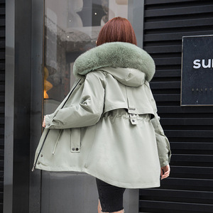 Women Parka Winter Coat Mid-length Whole Skin Rabbit Fur Big Raccoon Fox Fur Collar Detachable Real Fur Coat