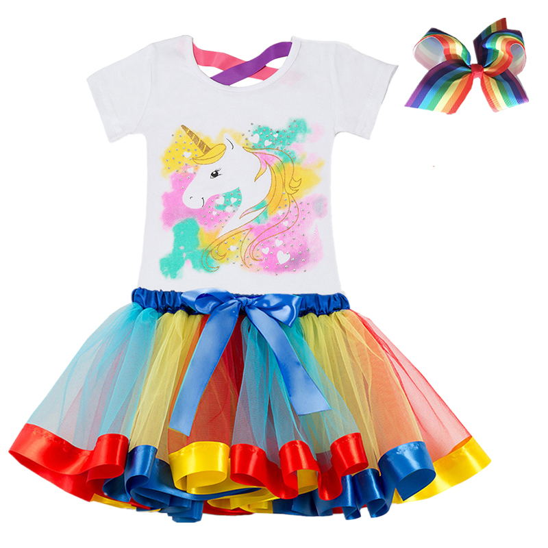 2019 Fashion Unicorn Dress for Girls Children's Clothes Kids Lace Dresses Baby Girls Costume Summer Sleeveless Princess Dress 6