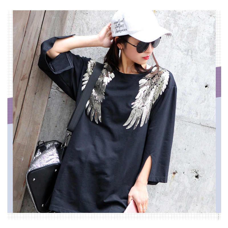 1 ペア新館刺繍レース羽アップリケ Paillette のファブリック · セーター服パッチスパンコールステッカー Tシャツ Diy 装飾
